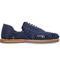 Kg By Kurt Geiger Saxa Woven Leather Sandals Navy