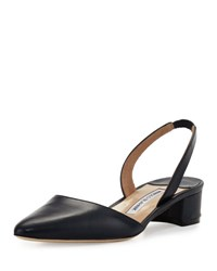 Manolo Blahnik Aspro Leather Slingback Pump Navy