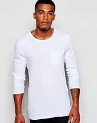Asos Muscle Fit Long Sleeve T Shirt In Stretch Rib Jersey White