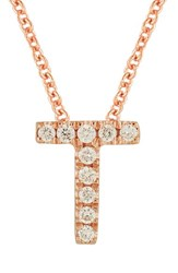Bony Levy Women's Pave Diamond Initial Pendant Necklace Nordstrom Exclusive Rose Gold T