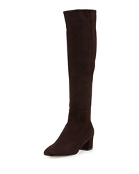 Gianvito Rossi Low Heel Suede Knee Boot Dark Brown