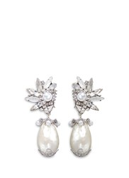 Erickson Beamon 'Til Death Do Us Part' Swarovski Crystal Baroque Pearl Earrings White Metallic