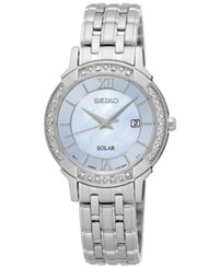 Seiko Women's Solar Sport Diamond Accent Stainless Steel Bracelet Watch 29Mm Sut277 No Color