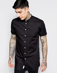 Minimum Contrast Button Short Sleeve Shirt Black