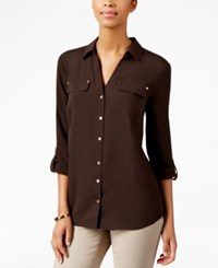 Charter Club Petite Utility Shirt Only At Macy's Rich Truffle
