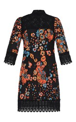 Andrew Gn Floral Jacquard High Yoke Dress