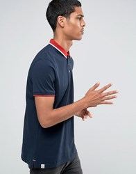 Celio Slim Fit Polo With Contrast Collar Navy Blue Grey
