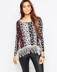 Vintage Havana Printed Top With Crochet Trim Blackburgandy
