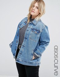 Asos Curve Denim Girlfriend Jacket In Astrid Mid Stonewash Blue Blue