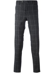 Pt01 Plaid Slim Fit Trousers Grey