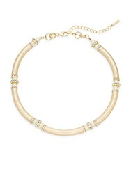 Saks Fifth Avenue Faux Pearl Hammered Necklace Gold