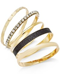 Thalia Sodi Gold Tone 5 Pc. Bangle Bracelet Set Only At Macy's Black