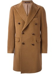 Tagliatore Peaked Lapels Double Breasted Coat Brown