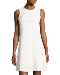 Eliza J Sleeveless Lace Embroidered Dress Ivory