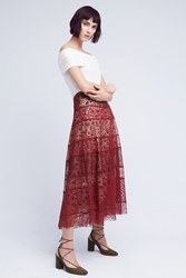 Anthropologie Printed Lace Midi Skirt Red Motif