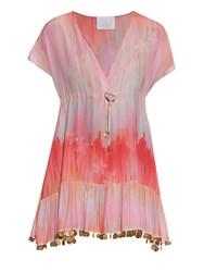 Athena Procopiou Little Wing V Neck Silk Dress