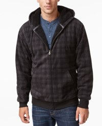 Weatherproof Vintage Men's Big And Tall Plaid Sherpa Lined Hoodie Only At Macy's Grey