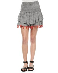 T Bags Shirred Printed Skirt With Beaded Trim Black Print