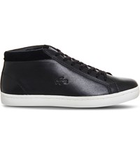 Lacoste Straightset Leather Chukka Boots Black Leather