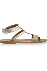 K Jacques St Tropez Metallic Lizard Effect And Leather Sandals