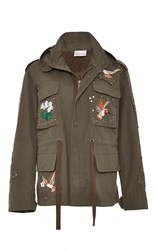 Red Valentino Embroidered Cargo Jacket Green