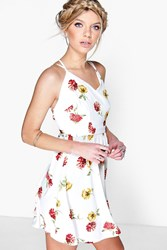 Boohoo Floral Print Woven Skater Dress White