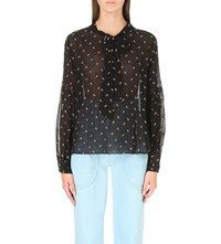 Ulla Johnson Oelia Floral Embroidered Woven Blouse Raven