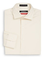 Saks Fifth Avenue Trim Fit Stretch Cotton Dress Shirt Light Yellow