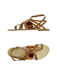 Peter Flowers Thong Sandals Brown