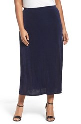 Vikki Vi Plus Size Women's Long A Line Skirt Navy