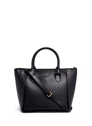 Alexander Mcqueen 'Inside Out' Top Zip Leather Shopper Tote Black
