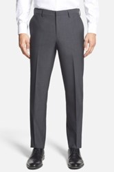 Calibrate Wool And Mohair Flat Front Trousers Gray