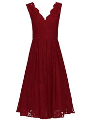 Jolie Moi V Neck Pleated Lace Dress Dark Red