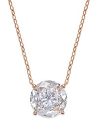 Danori Rose Gold Tone Round Crystal Pendant Necklace