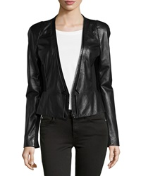 Halston Leather Blazer Black