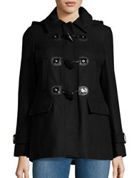 Michael Michael Kors Wool Blend Hooded Toggle Coat Black
