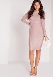 Missguided Premium Long Sleeve Bandage Bodycon Dress Pink Purple