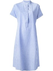 Closed Striped Shirt Dress Blue