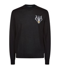 Billionaire Wolf Patch Crew Neck Sweater Male Black