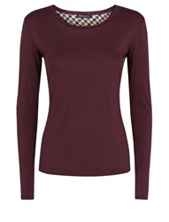 Aquascutum London Tansy Long Sleeve Jersey Branded Tee Blueberry
