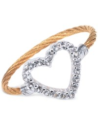 Charriol Women's Laetitia White Topaz Accent Heart Two Tone Pvd Stainless Steel Cable Ring Two Tone