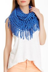 Blue Pacific Cashmere Blend Knit Fringe Infinity Scarf Blue