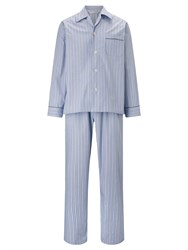 Derek Rose Stripe Woven Cotton Pyjamas Blue White