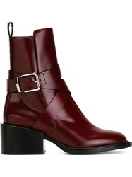 Jil Sander Low Chunky Heel Buckled Boots Red