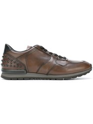 Tod's Studded Ankle Sneakers Brown
