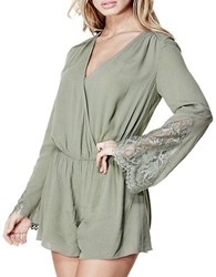 Guess Lace Trimmed Bell Sleeve Romper Green