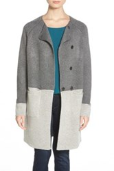Coin 1804 Colorblock Sweater Coat Gray