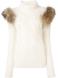 Forte Couture Turtleneck Cable Knit Pullover Nude And Neutrals