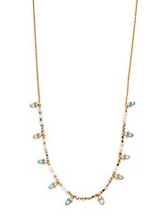 Alexis Bittar Elements Howlite Turquoise Pyrite Hematite And Swarovski Crystal Beaded Doublet Station Necklace Gold
