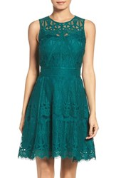 Adelyn Rae Women's Illusion Yoke Lace Fit And Flare Dress Green